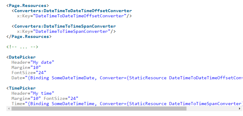 C# - Binding the XAML controls DatePicker and TimePicker to
